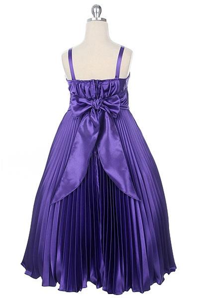 Shiny Satin Pleats Dress