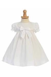 Flower Girl Dresses # LM659W : Capped Sleeved Cotton Striped Infant Seersucker Dress