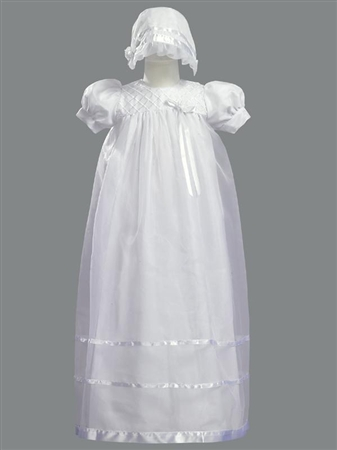 #LT2210 : Lace Bib Girls Christening/ Baptism Dress