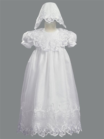 #LT2560 : Lace Bib Girls Christening/ Baptism Dress