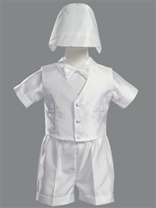 Embroidered Shantung Vest & Short Set w/Hat