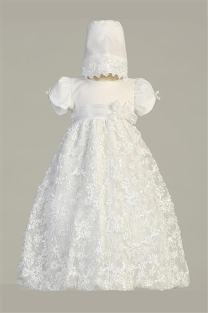 #LTAmber : White Embroidered Satin Ribbon Tulle Dress