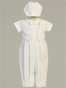 #LTBenjamin : Poly cotton long romper with sewn-on vest and hat