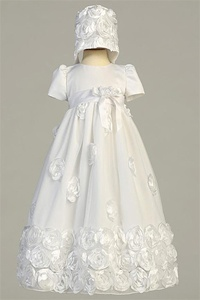 LTClarice : Floral ribbon tulle dress with bonnet