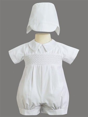 # LTJeremy : Criss-cross Pattern Cotton Romper w/Hat