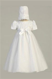 #LTLillian  : Embroidered satin ribbon bodice with tulle skirt and bonnet
