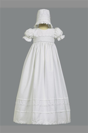 #LTMarie : Girls Christening Smocked Bodice Cotton Christening Gown