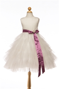 Adorable Ruffled Tulle Gown with Sash & Brooch (#PA202C)