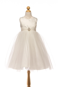 Darling Dim Satin & Tulle Gown with Brooch (#PA208)