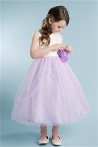 Adorable Dim Satin & Tulle Gown with Carnation (#PA212)