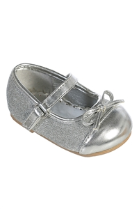 S102 : Silver Glittery Bow Shoes W/ Adjustable Strap