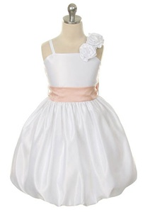 Flower Girl Dresses #SK210WH : Satin Bubble Dress w/Hand Rolled Flowers on One Strap