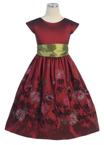 Flower Girl Dresses #SK256BU : Yarn Embroidered Taffeta, Capp Sleeve Dress