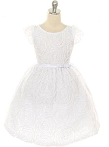 Flower Girl Dresses SK266WH : Large Flower Embroidered Mesh Dress