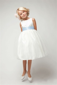 Flower Girl Dresses #SK394B : Elegant Satin Jacquard Bodice w/ Tulled Skirt dress & Exchangeable Sash Girl Dress