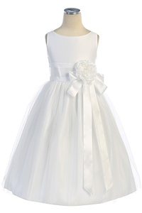 Flower Girl Dresses SK402W : Darling Vintage Satin Dress w/ Front Tie Sash, Removable Flower & Tulled Skirt Dress