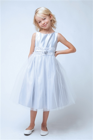 Flower Girl Dresses #SK473 : Satin with Metallic Lace