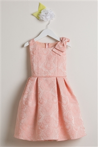Vintage Style Rose Jacquard Gown with Shoulder Bow (SK554)
