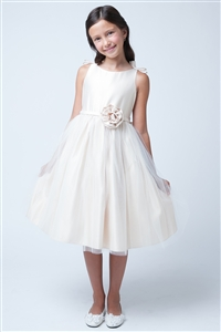 Dainty Double Bow Satin Gown with Tulle Overlay (SK575)