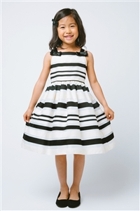 Flower Girl Dresses #SK595 : Woven Striped Organza w/ Shoulder Bows