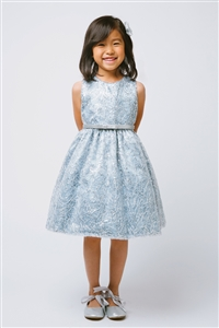 Flower Girl Dresses SK605 :  Metallic Cord Embroidered Dress with Belt