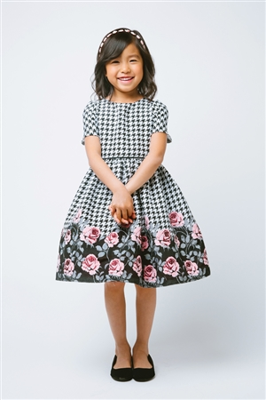 Flower Girl Dresses SK607 : Houndstooth Rose Print Jacquard Dress