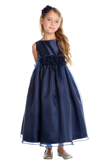 #SK723 : Satin Organza Flower Adorned Dress