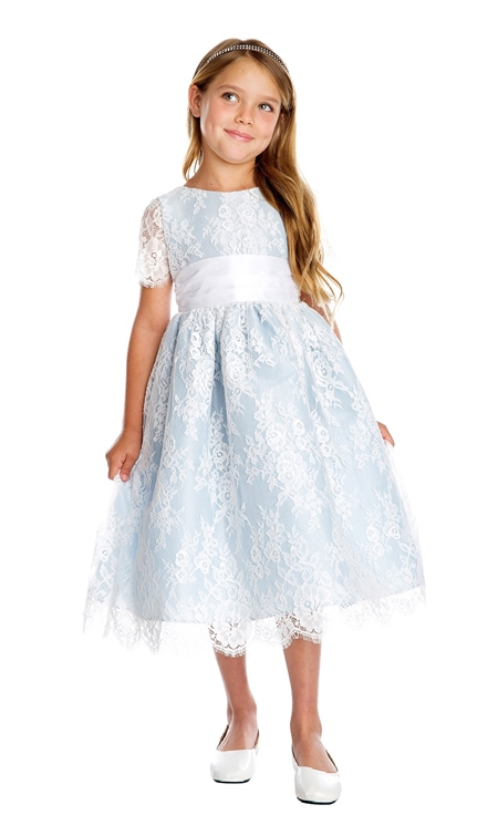 #SK724 : Short Sleeved French Lace and Dupioni Dress
