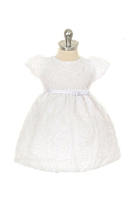 Flower Girl Dresses SKB266WH : Large Flower Embroidered Mesh Dress