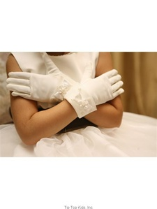 Wrist Length Satin with Organza Gloves