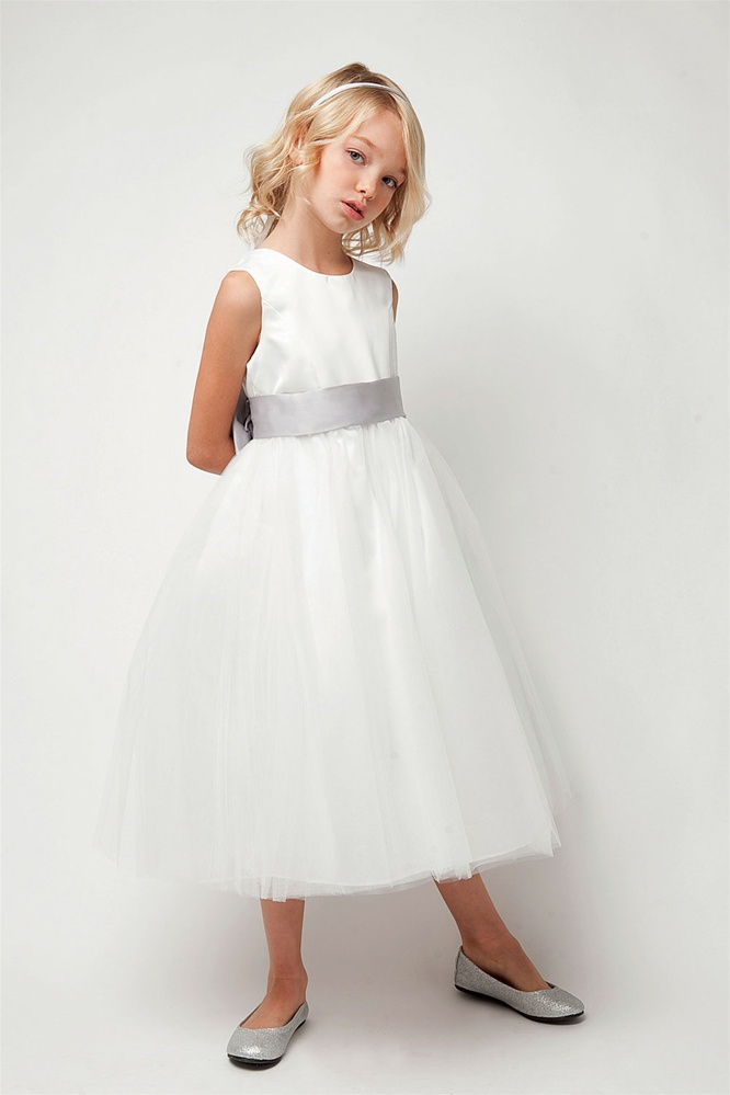 Classic Satin Bodice with Tulle Skirt and Adjustable bow ...