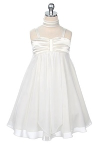 Flower Girl Dresses #SW3715IV : Charmeuse Bodice and Chiffon Skirt