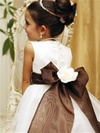 Flower Girl Dresses # TT5165WH-BR : Simple Satin Bodice with Organza Layer Skirt Dress