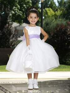 Flower Girl Dresses #TT5165WH-LL  : Simple Satin Bodice with Organza Layer Skirt Dress