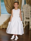 Flower Girl Dresses : Classic Satin Dress with Removable Sash Dress