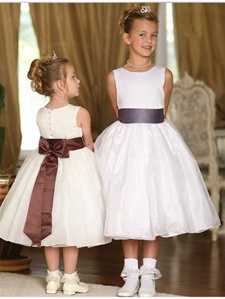 Flower Girl Dresses #TT5378: Satin Bodice with Organza Overlay Dress with Satin Bow Sash