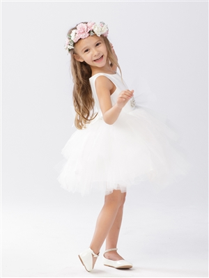 #TT5687 : Short Satin and Tutu Tulle Dress
