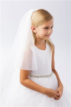 #TT773 : Pearl and Rhinestone Accents White Communion Veil