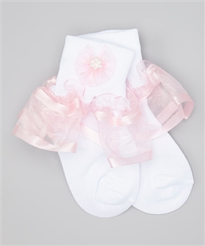 #TT8011 pink : Organza Ruffle with Satin Trim Girl's Dress Socks