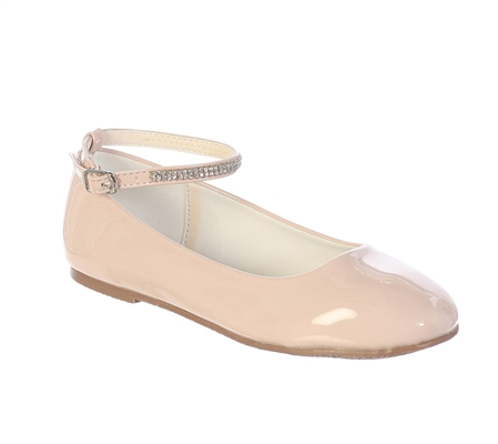 #TTS119-S120BL : Little Girls and Big Girls Shoe with Rhinestone Strap