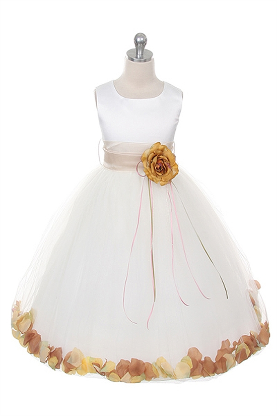 Flower petal dress with organza sash mightylinksfo