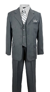 AA888GR: Dapper Boys Pinstripe Suit with Matching Tie