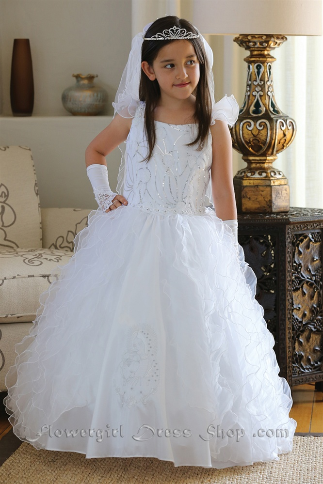 Communion Dress Ag1438 Gorgeous Taffeta Dress W Full
