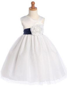 Sleeveless Satin Bodice and Tulle Skirt with Detachable Sash and Flower