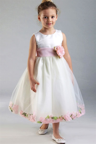 satin bodice with petal flower girl dress