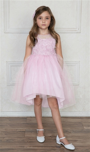 #CAD-758PK : High-Low Tulle Dress with Beaded and Embroidered Bodice