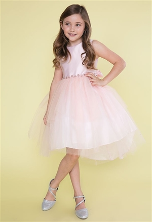 #CAD-760 : Satin and Tulle High Low Dress