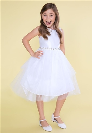 #CAD-760W : Satin and Tulle High Low Dress