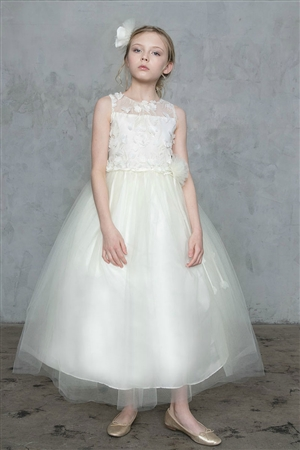 #CAD-772IV : Embroidered Dress with Tulle Skirt
