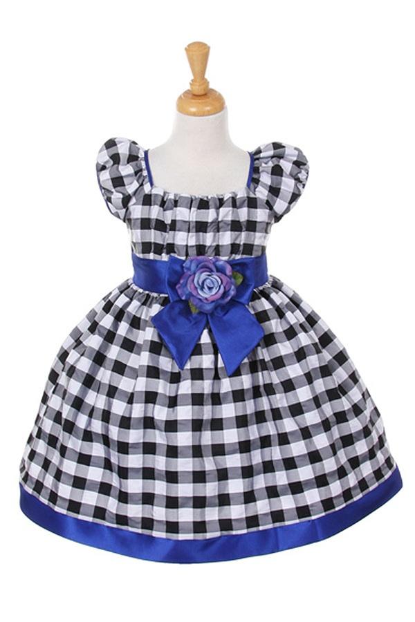 Elegant Black And White Checkered Print Taffeta Baby Dress With